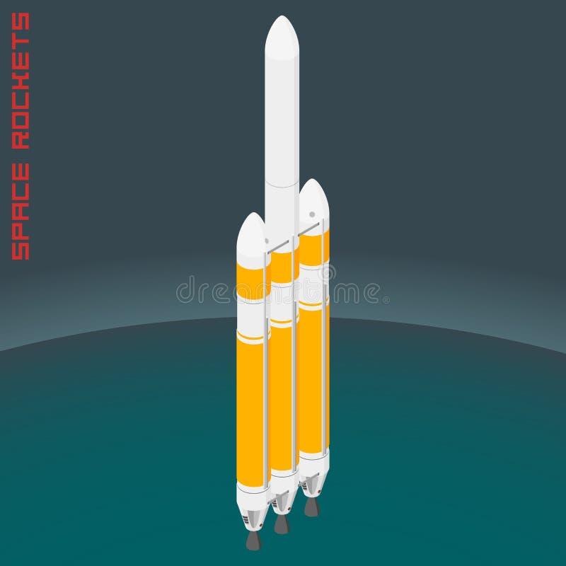 Isometric american space heavy rocket royalty free illustration