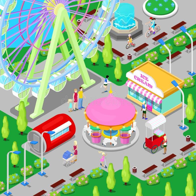 Isometric Amusement Park with Carousel Ferris Wheel and Children vector illustration