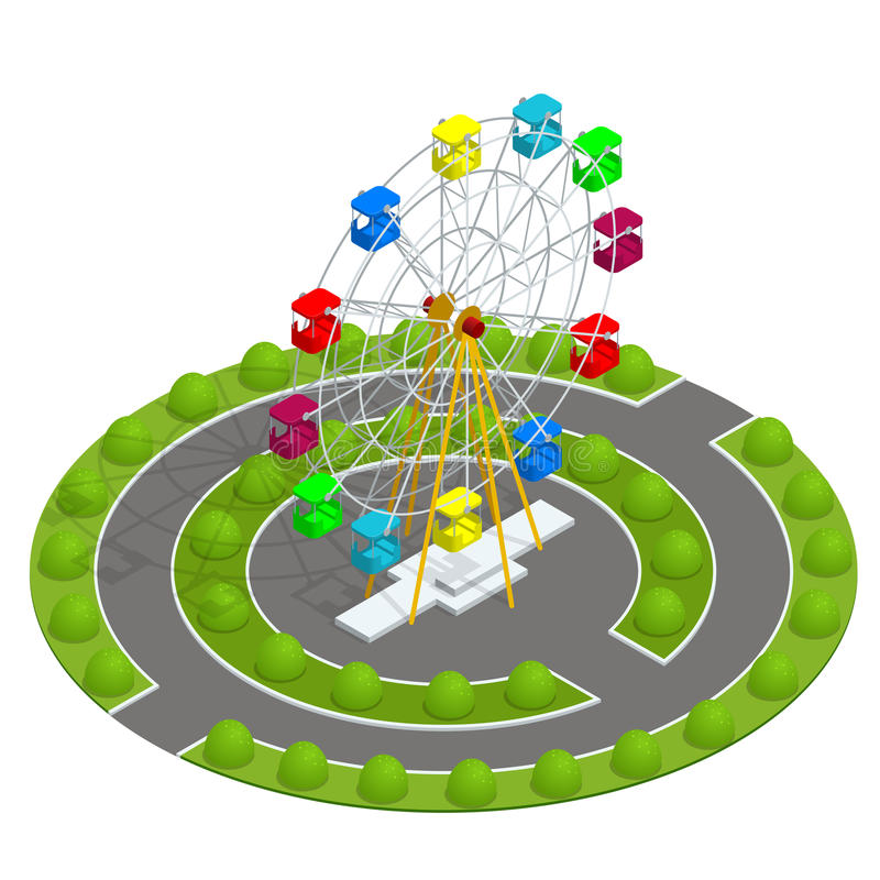 Isometric Amusement park with ferris wheel. Family Holiday Vacation concept. Flat vector illustration stock illustration