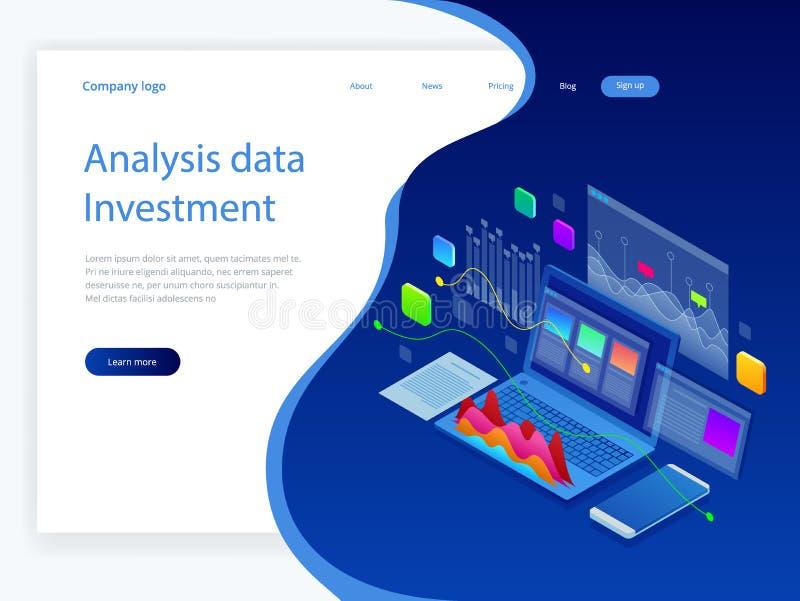 Isometric analizy inwestycja i dane Sterta dokumenty z urzędnika znaczkiem i ołówki w szkle Metoda dla ilustracji