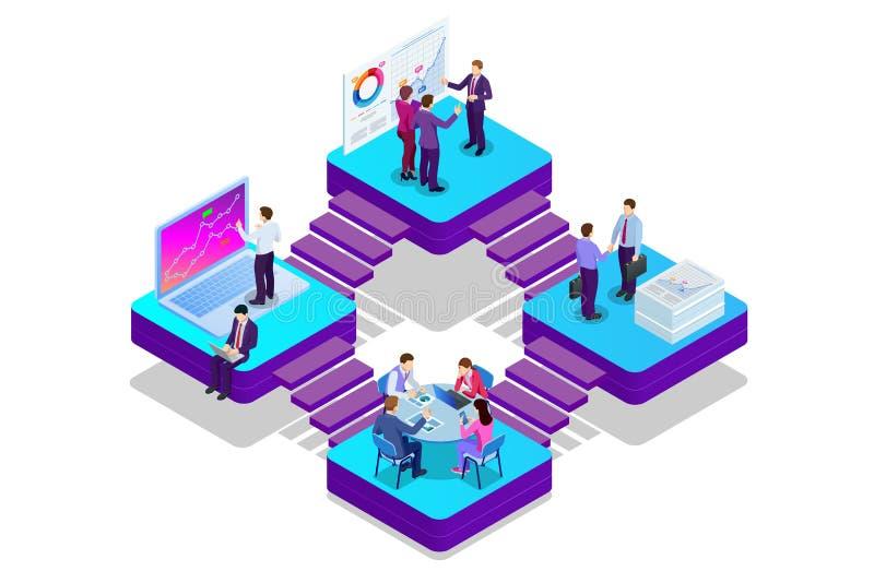 Isometric analizy inwestycja i dane Zarządzanie projektem, komunikacja biznesowa, obieg i konsultować, Strona internetowa i ilustracja wektor