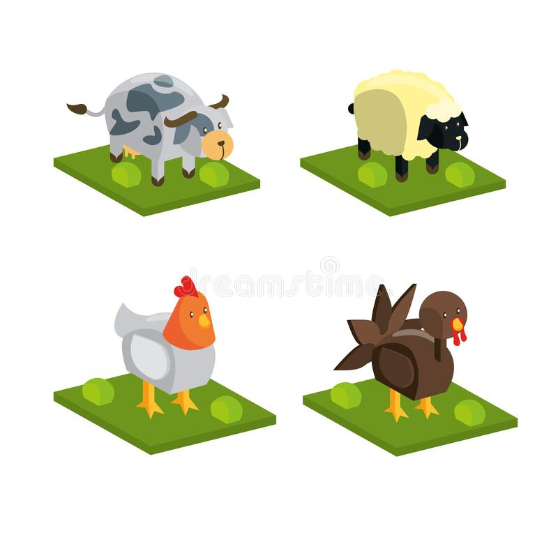 Isometric Animal chicken cow sheep stock images