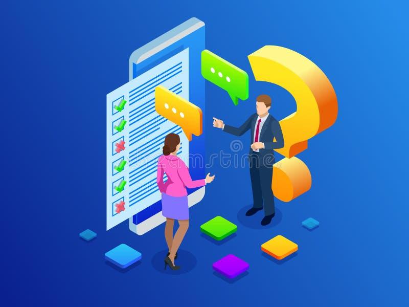 Isometric ankiety pojęcia sztandar z charakterami Online egzamin, kwestionariusz forma, online edukacja, ankieta, internet ilustracji