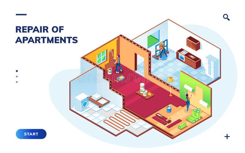 Isometric apartment with repair workers, repairman vector illustration