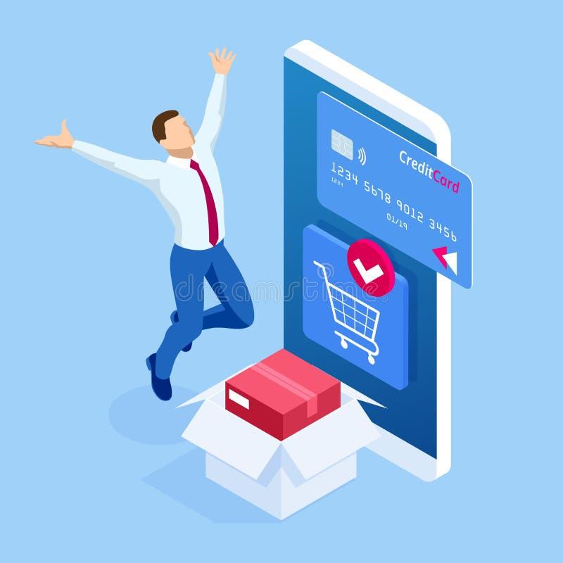 Isometric App παράδοσης isometric πρότυπο ιστοχώρου Σε απευθείας σύνδεση έμβλημα αγορών, γρήγορη υπηρεσία παράδοσης Γυναίκα που χ ελεύθερη απεικόνιση δικαιώματος