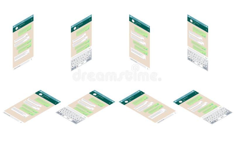 Isometric app συνομιλίας κινητό πληκτρολόγιο προτύπων whith Isometric κοινωνική έννοια δικτύων Κενό πρότυπο Παράθυρο αγγελιοφόρων διανυσματική απεικόνιση