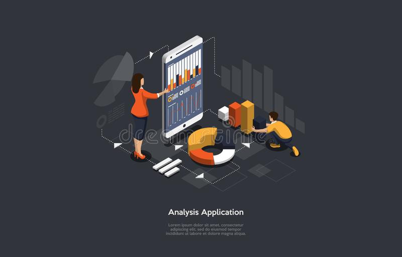 Isometric application of smartphone with business graph and analytics data. Analysis UI UX trends and financial strategy by using infographic chart. Online vector illustration
