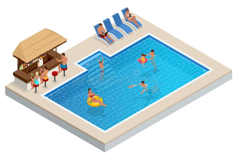 Isometric Aqua Park with bar, water pool, people or visitors. Vector illustration isolated on white background.  stock illustration