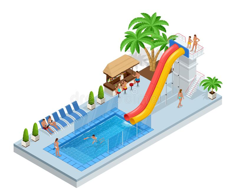 Isometric Aqua Park with water slides, water pool, people or visitors and palms. Vector illustration isolated on white. Background royalty free illustration
