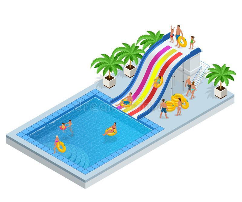 Isometric Aqua Park with water slides, water pool, people or visitors and palms. Vector illustration isolated on white. Background stock illustration