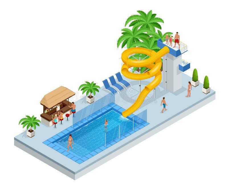 Isometric Aqua park z wodnymi obruszeniami, wodnym basen, ludzie, goście lub palmy, Wektorowa ilustracja odizolowywająca na bielu ilustracji
