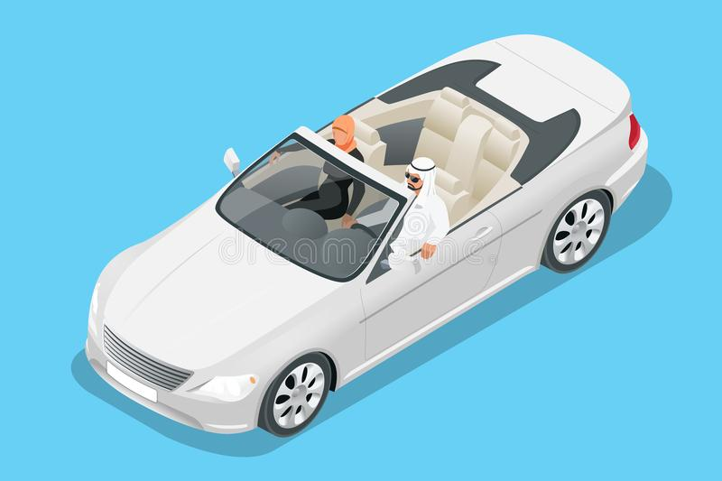 Isometric Arab couple ride in cabriolet car. Traveling by cabriolet car vector illustration stock illustration