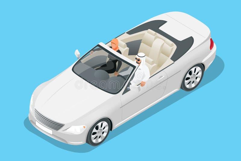 Isometric Arabska pary przejażdżka w kabrioletu samochodzie Podróżować kabriolet samochodową wektorową ilustracją ilustracji