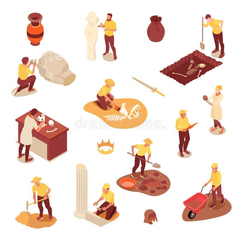 Isometric Archeology Icons Set stock illustration