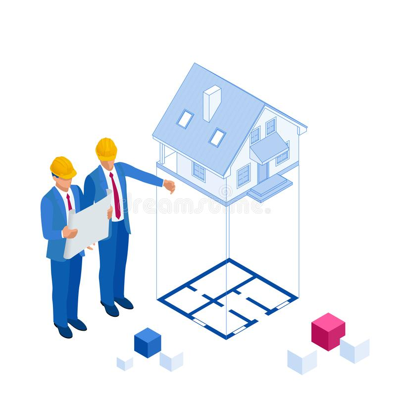 Isometric architect builders studying layout plan of the house, a civils engineers working with documents on royalty free illustration