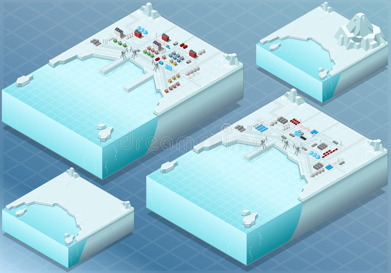 Isometric Arctic Bay with Town and Industrial District royalty free illustration