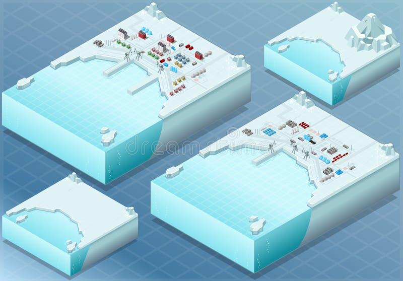 Isometric Arktyczna zatoka z miasteczkiem i Przemysłowym okręgiem royalty ilustracja