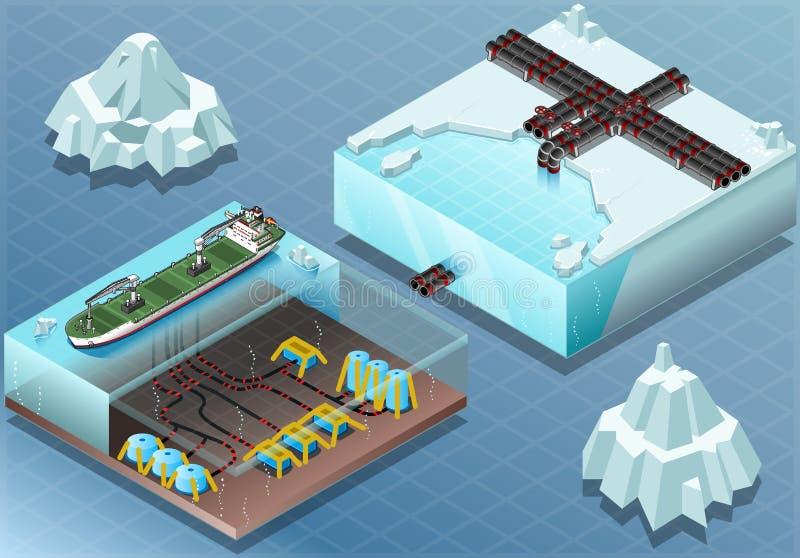 Isometric Arktyczne Subsea tubki i gospodarstwo rolne ilustracji