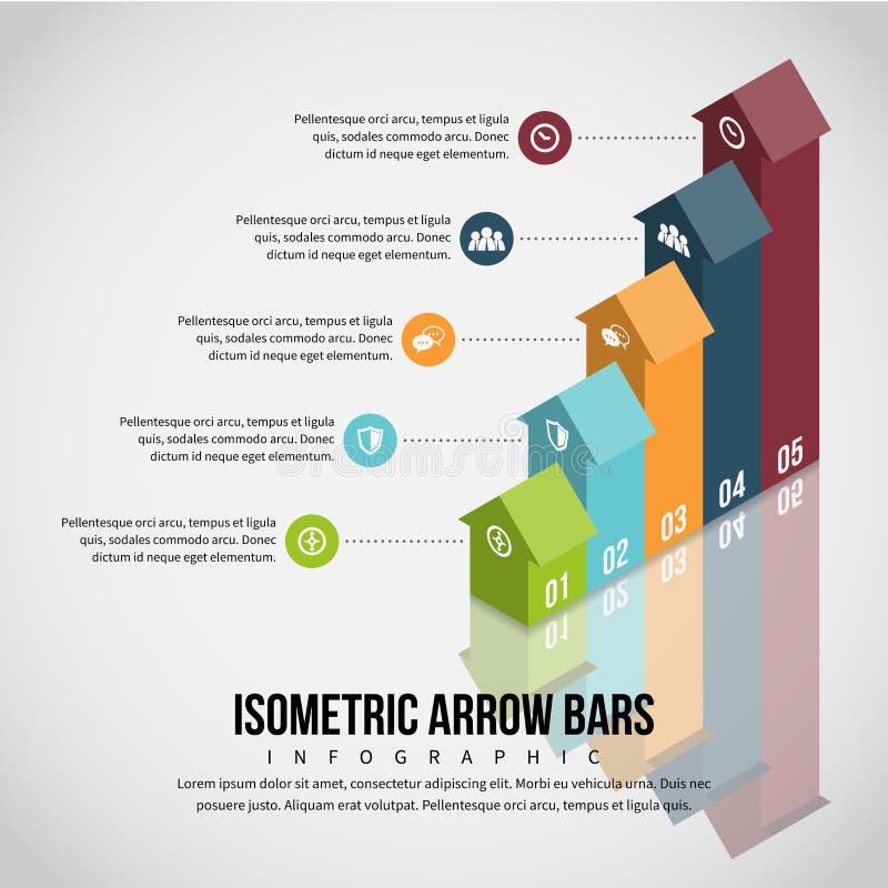 Isometric Arrow Bars Infographic. Vector illustration of isometric arrow bars infographic design element stock illustration