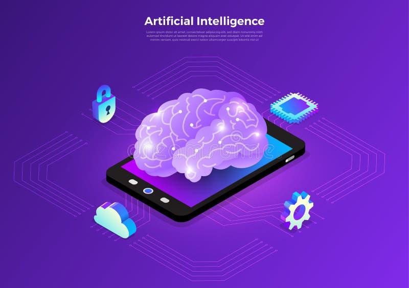 Isometric artificial intelligence AI stock illustration