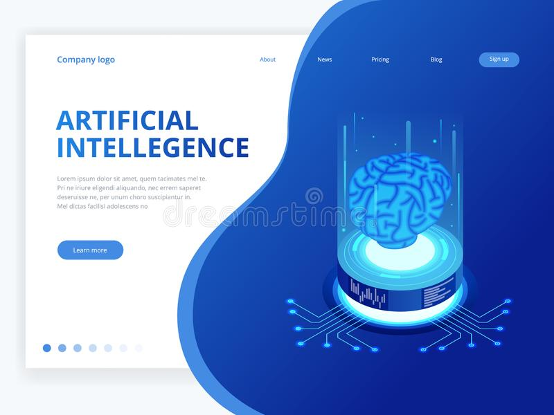 Isometric artificial intelligence business concept. Technology and engineering concept, data connection pc smartphone. Future technology royalty free illustration