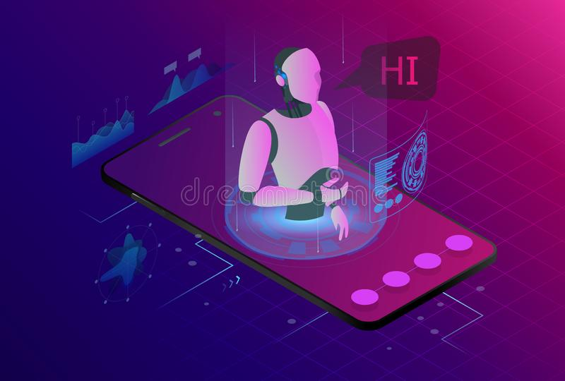 Isometric artificial intelligence. Chat bot and future marketing. AI and business IOT concept. Mans and women chatting. With chatbot application. Dialog help stock illustration