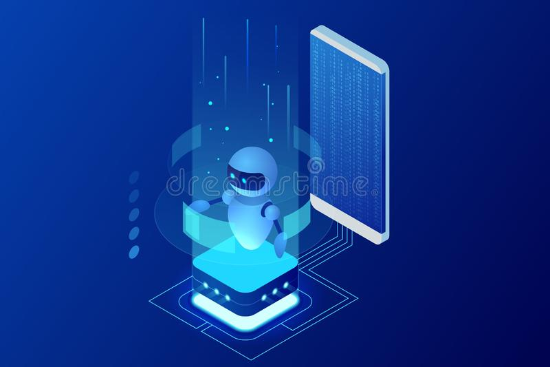 Isometric Artificial Intelligence. Chatbot and future marketing. AI and business IOT concept. Dialog help service royalty free illustration
