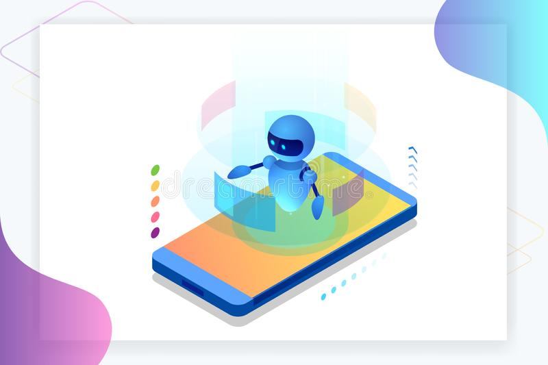 Isometric Artificial Intelligence. Chatbot and future marketing. AI and business IOT concept. Dialog help service. Vector illustration royalty free illustration
