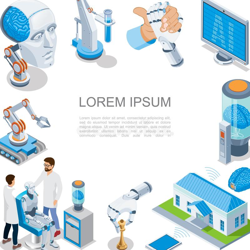 Isometric Artificial Intelligence Concept royalty free illustration