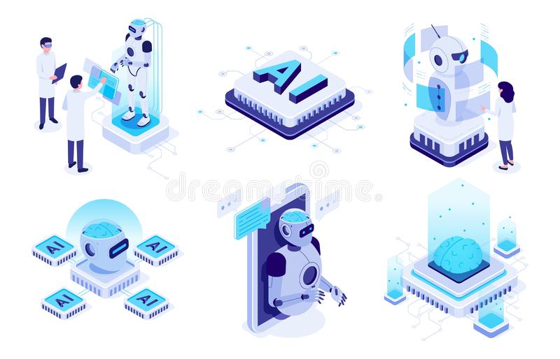 Isometric artificial intelligence. Digital brain neural network, AI servers and robots technology vector illustration. Isometric artificial intelligence. Digital royalty free illustration
