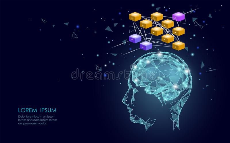 Isometric artificial intelligence human brain neural network business concept. Blue glowing personal information data vector illustration