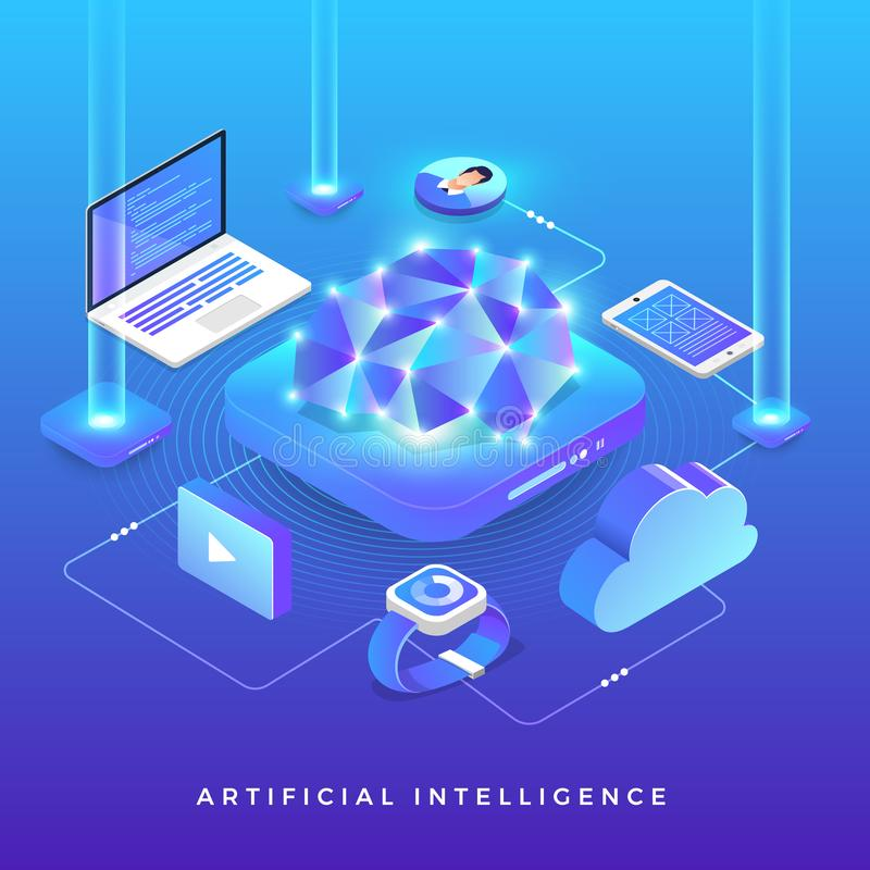 Isometric Artificial Intelligence royalty free illustration