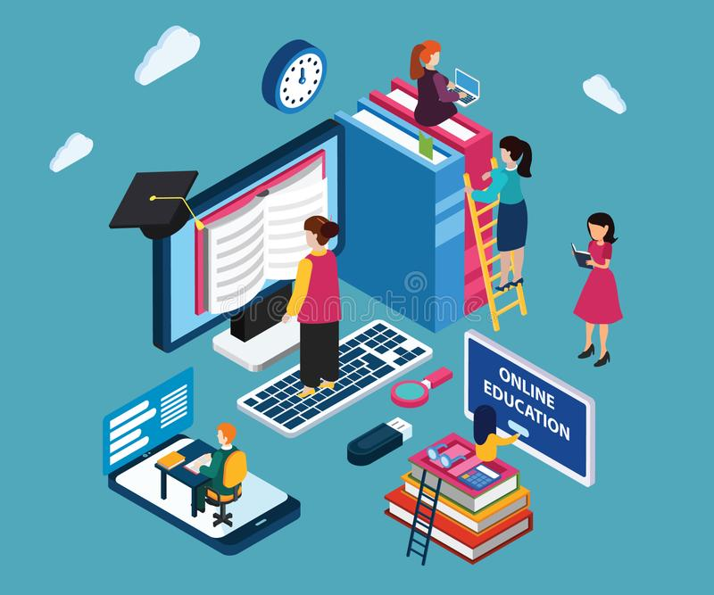 Isometric Artwork of Children reading books online rather than a original book in hand. Isometric Artwork Concept of Online Education Where children are royalty free illustration