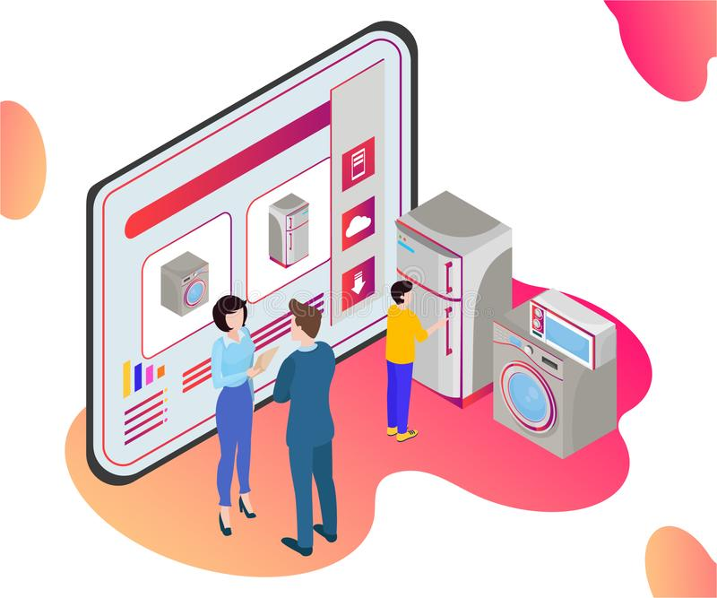 Isometric Artwork Concept of a CRM Software, Where the information of the customer is stored stock illustration
