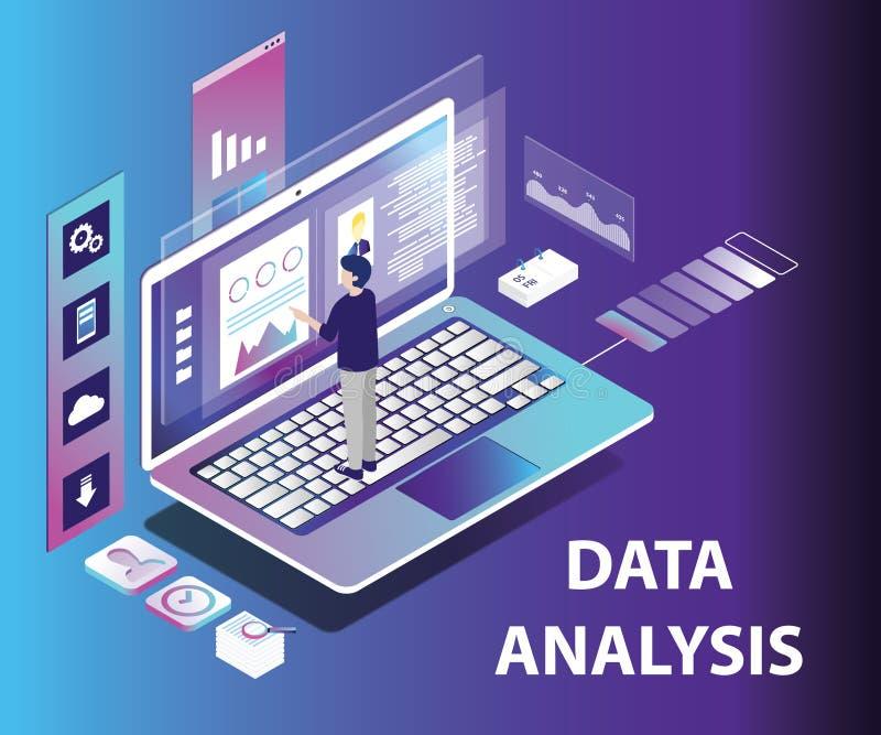 Isometric Artwork Concept of Data analysing vector illustration