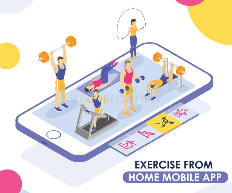 People Exercising from a Mobile App Isometric Artwork Concept. vector illustration