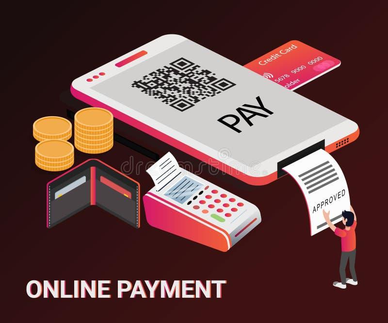 Isometric Artwork Concept of online money transaction. stock illustration
