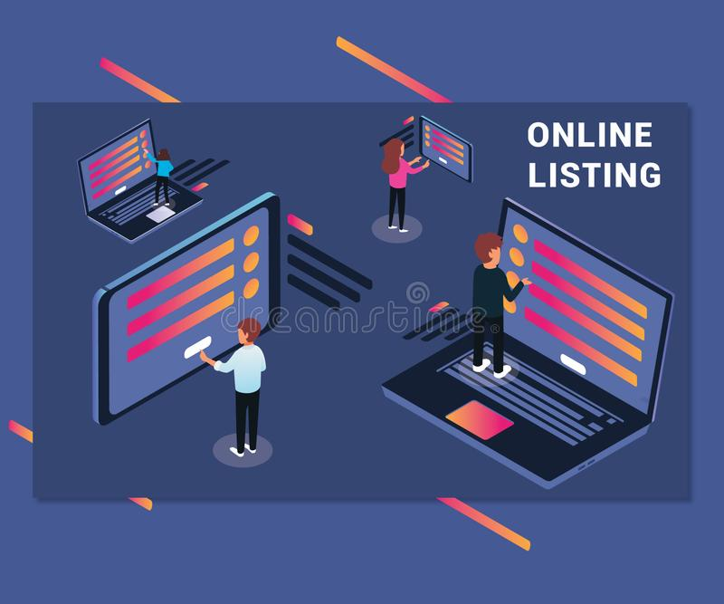 Isometric Artwork Online Listing of people Surfing Internet on Lapotp royalty free illustration