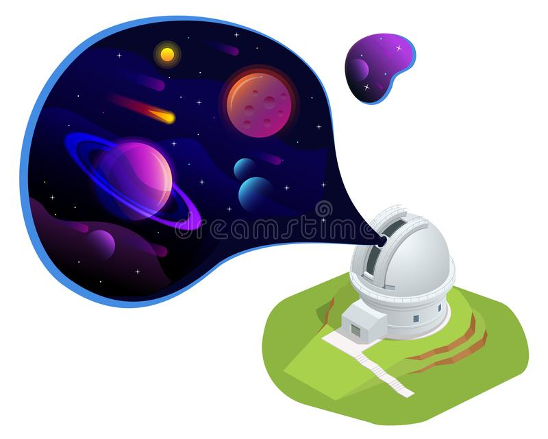 Isometric astronomical observatory dome. Astronomical telescope tube and cosmos. Astronomer looking through telescope on. Planets, stars and comets vector illustration