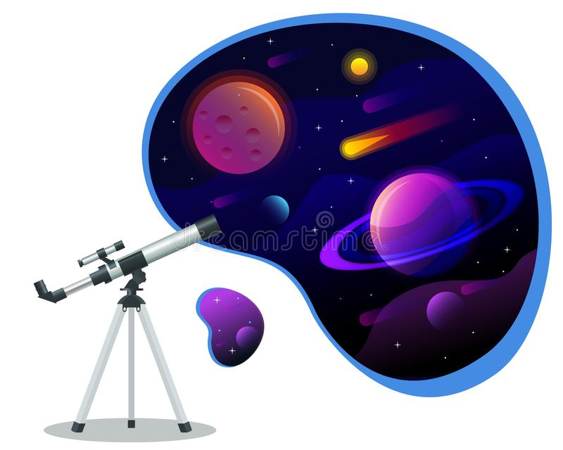 Isometric astronomical observatory dome. Astronomical telescope tube and cosmos. Astronomer looking through telescope on. Planets, stars and comets royalty free illustration