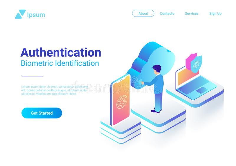 Isometric Authentication Biometric fingerprint ide. Isometric Authentication Biometric identification vector illustration. Man touches screen to get access to stock illustration