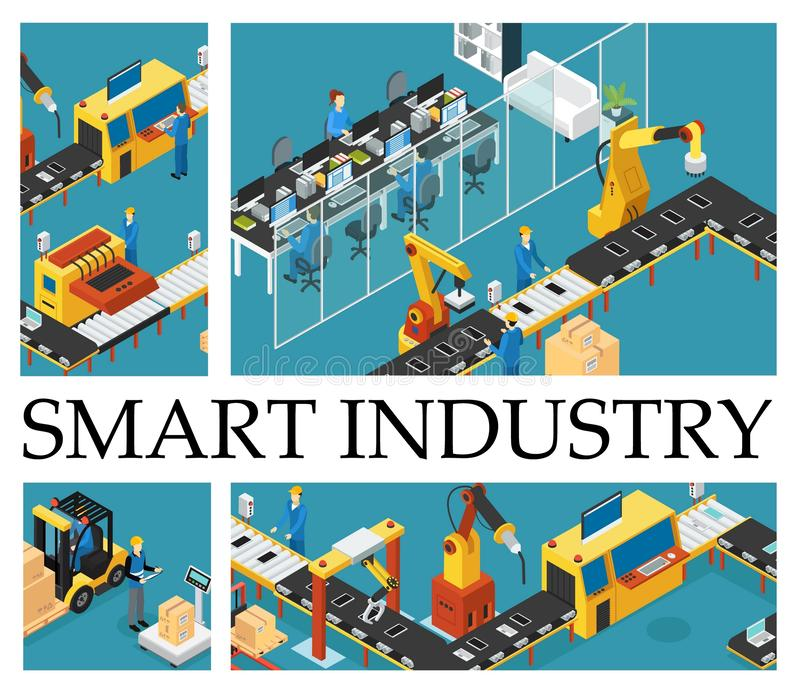 Isometric Automated Factory Composition royalty free illustration