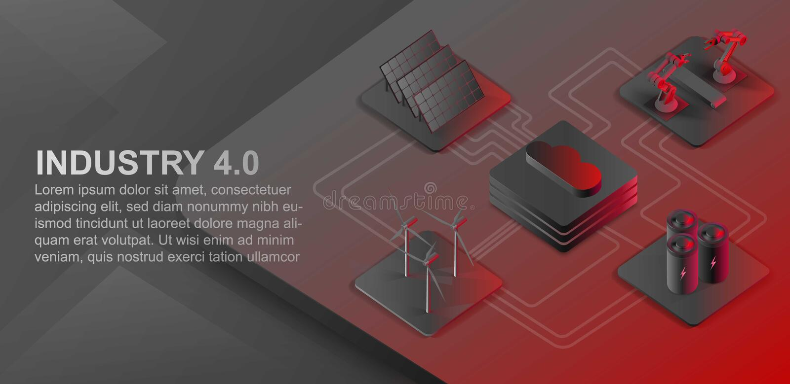 Isometric automated robot arms and conveyor belt. Wind farm, solar panels, cloud big data. Modern industry 4.0 isometric. 3d concept. On the black and red vector illustration