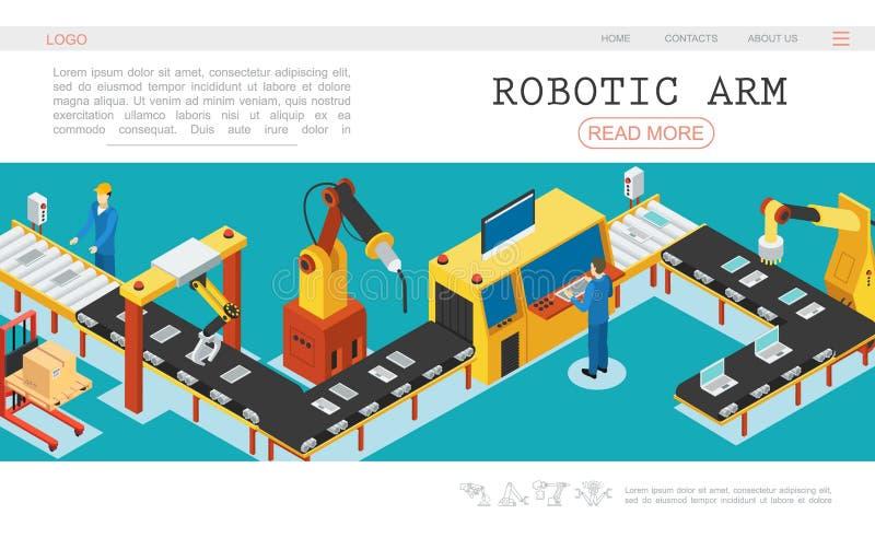 Isometric Automatyzujący Fabryczny strona internetowa szablon ilustracji