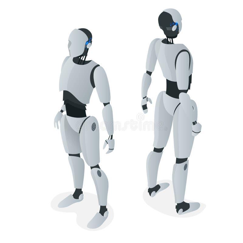 Isometric autonomiczny robot Płaski wektor Odizolowywający na białej ilustraci sztuczna inteligencja ilustracji
