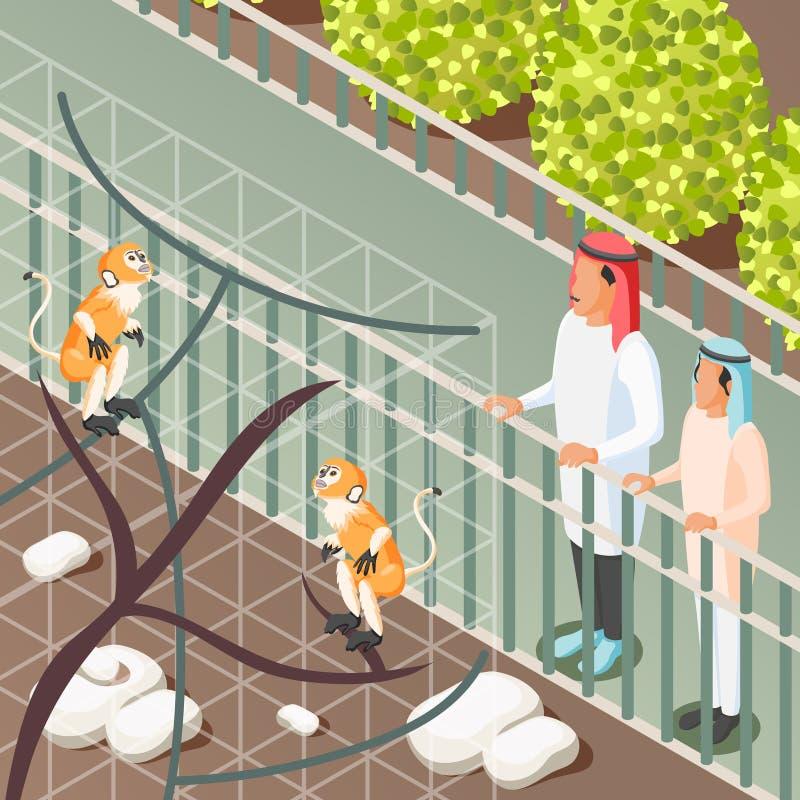 Arabic Family Isometric Background royalty free illustration
