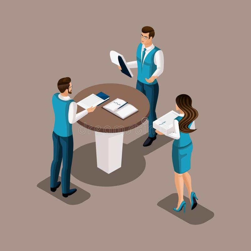 Isometric banków pracownicy w banka ` s zachowania biurowym brainstorming Spotkanie kierownicy, dyskusja znacząco sprawy ilustracja wektor
