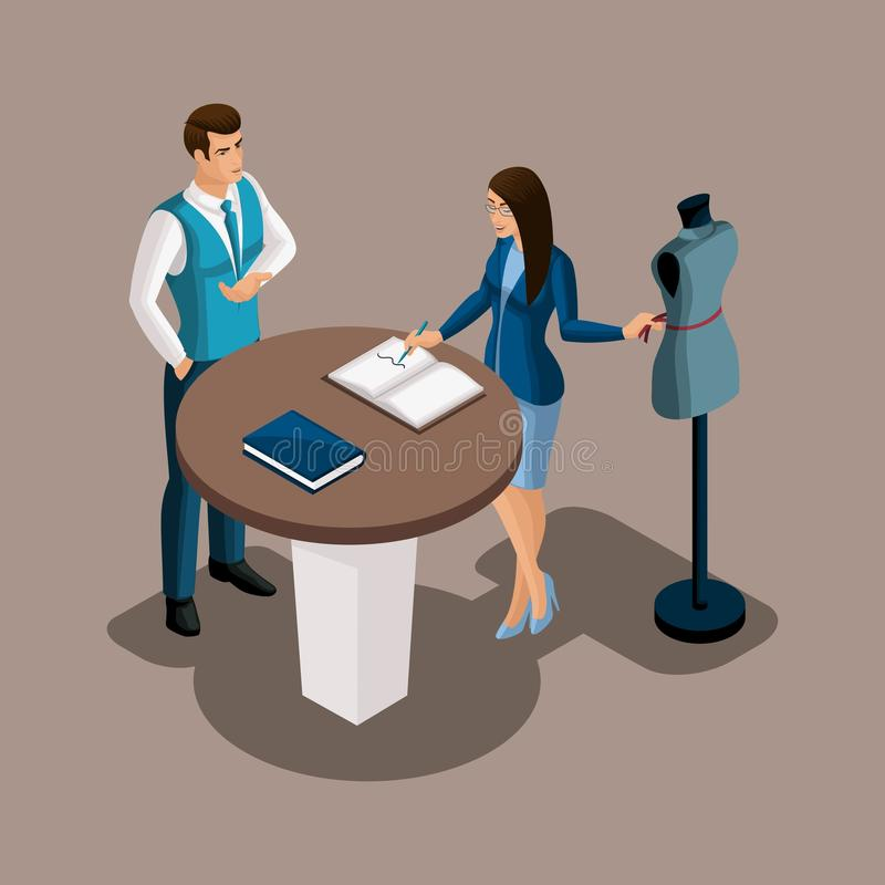 Isometric bank manager proposes to use the services of the bank, the tailor girl is considering the offer. Entrepreneur, Own busi stock illustration