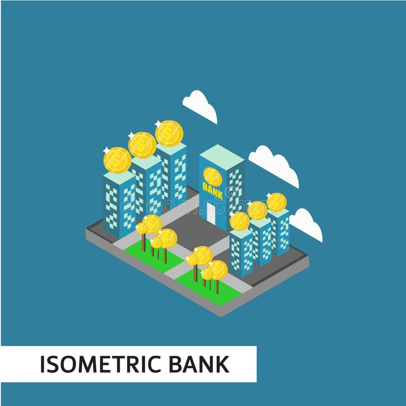 Isometric Bank Vector Template Design Illustration. Bank isometric vector office illustration building isolated atm business background design waiting concept stock illustration