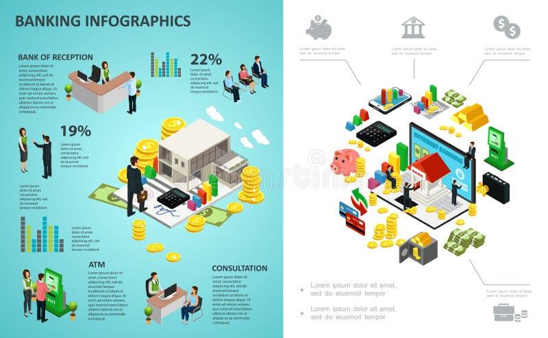 Isometric bankowość procesu Infographic pojęcie ilustracja wektor